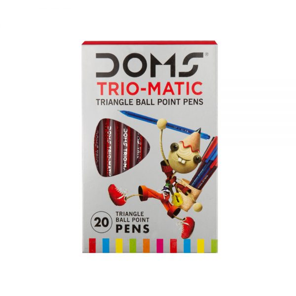 Doms Trio-Matic Triangular Ball Point Pen-Red