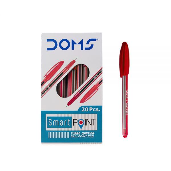 Doms Smart Point Ball Pen- Red 20 Pcs